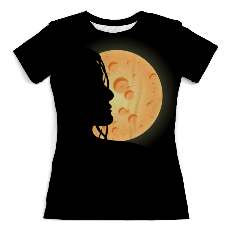 Футболка с полной запечаткой (женская) Printio Look at the moon цена 2017