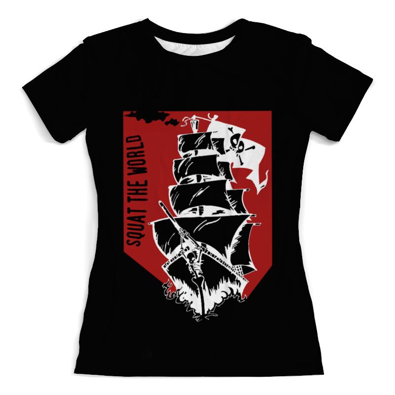 Футболка с полной запечаткой (женская) Printio Пиратский корабль александра треффер под пиратским флагом фантазии натему произведений р сабатини