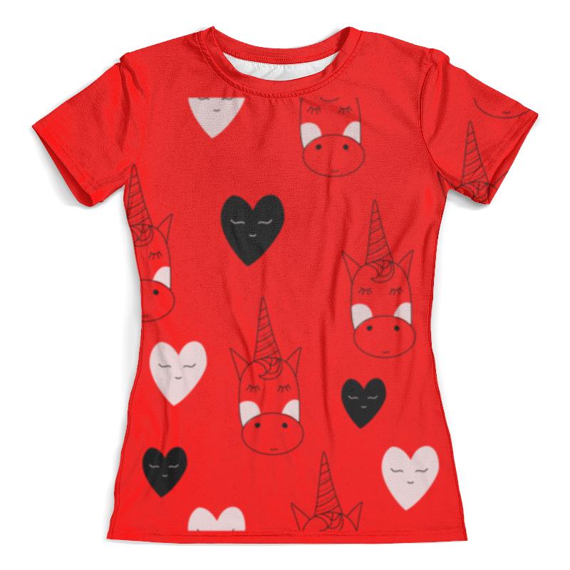 Футболка с полной запечаткой (женская) Printio Единорог с сердечками футболка с полной запечаткой женская printio battlefield v