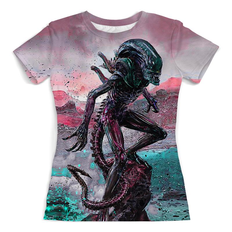 Футболка с полной запечаткой (женская) Printio Alien design (color) цена