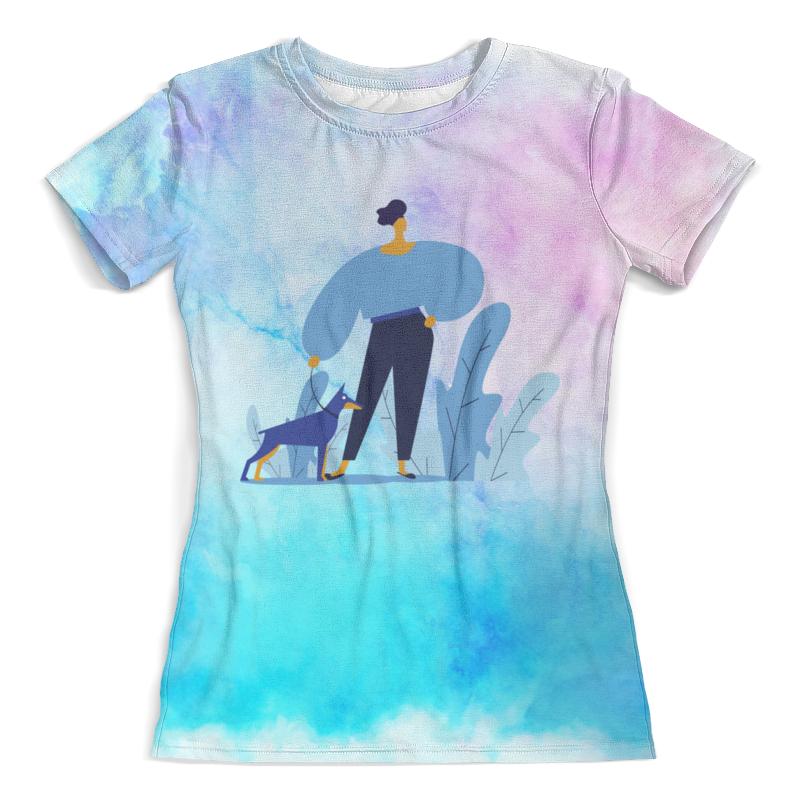 Футболка с полной запечаткой (женская) Printio Прогулка с собакой футболка с полной запечаткой женская printio алые паруса