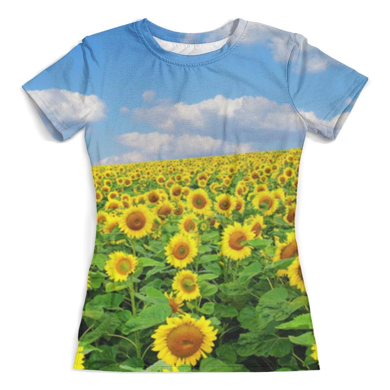 Футболка с полной запечаткой (женская) Printio Sunflower t-shirt plus size skew collar skull t shirt