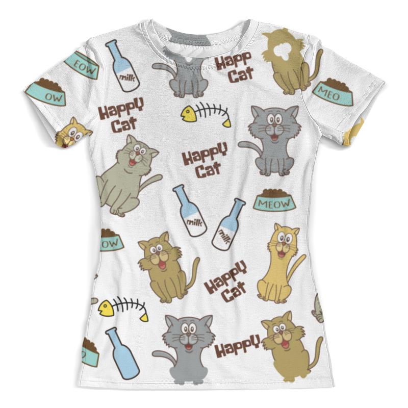Футболка с полной запечаткой (женская) Printio Счастливые коты футболка с полной запечаткой женская printio коты меломаны