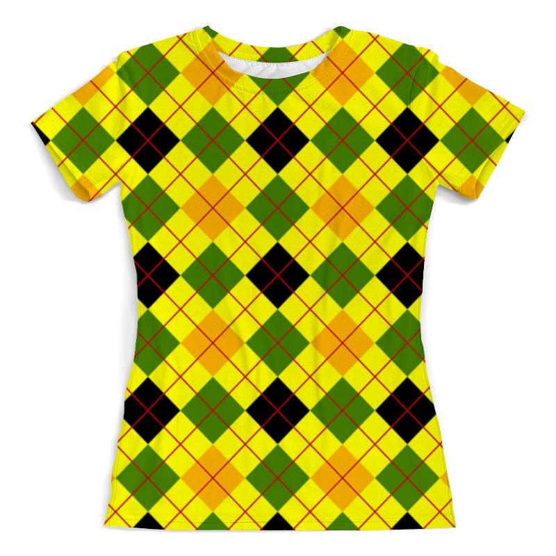 Футболка с полной запечаткой (женская) Printio Клетка желтая футболка желтая мужская
