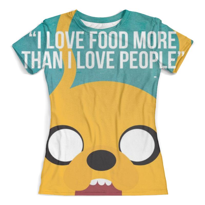 Футболка с полной запечаткой (женская) Printio I love food more than i love people darker than love