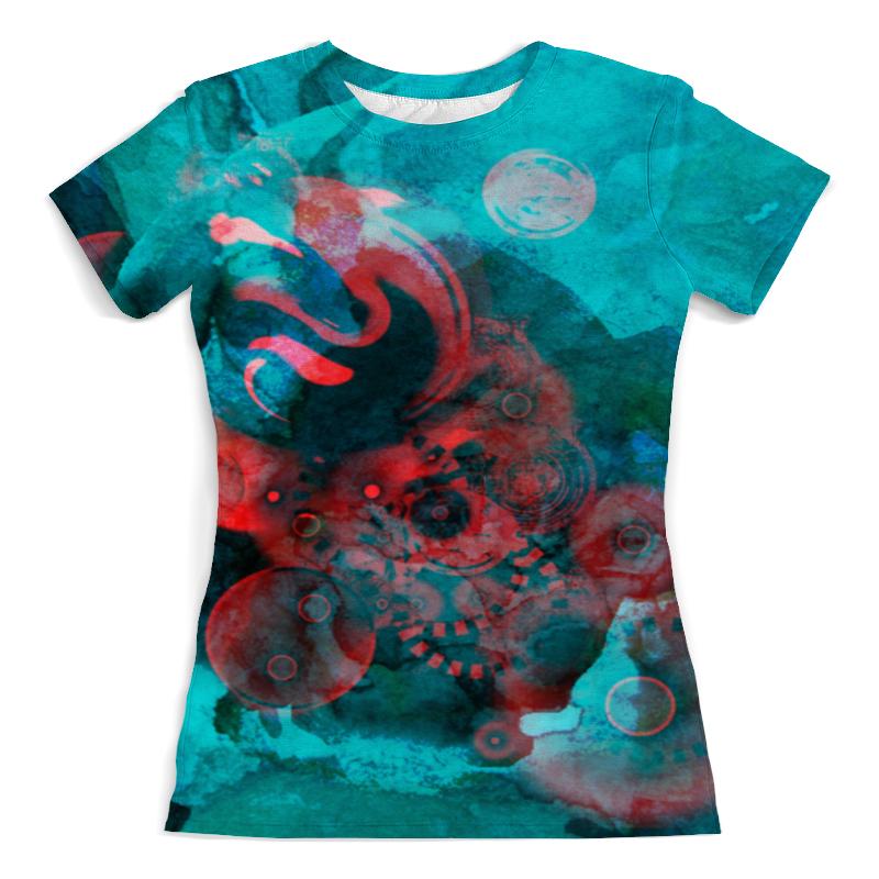 Футболка с полной запечаткой (женская) Printio Красно-бирюзовая абстракция футболка мужская бирюзовая