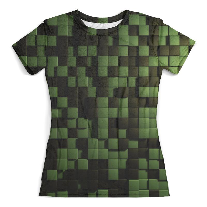 Футболка с полной запечаткой (женская) Printio Зеленые кубики кубики мди