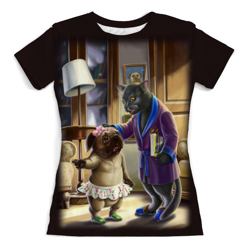 Футболка с полной запечаткой (женская) Printio Кошечка с собачкой футболка с полной запечаткой женская printio алые паруса