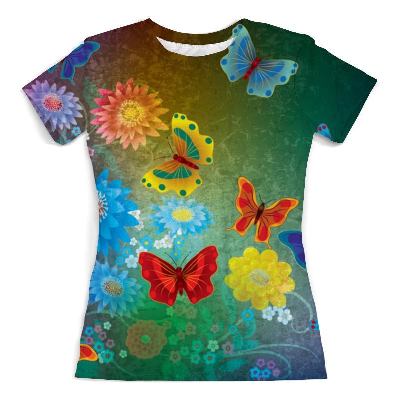Printio Цветочные бабочки футболка с полной запечаткой женская printio мишка и бабочки
