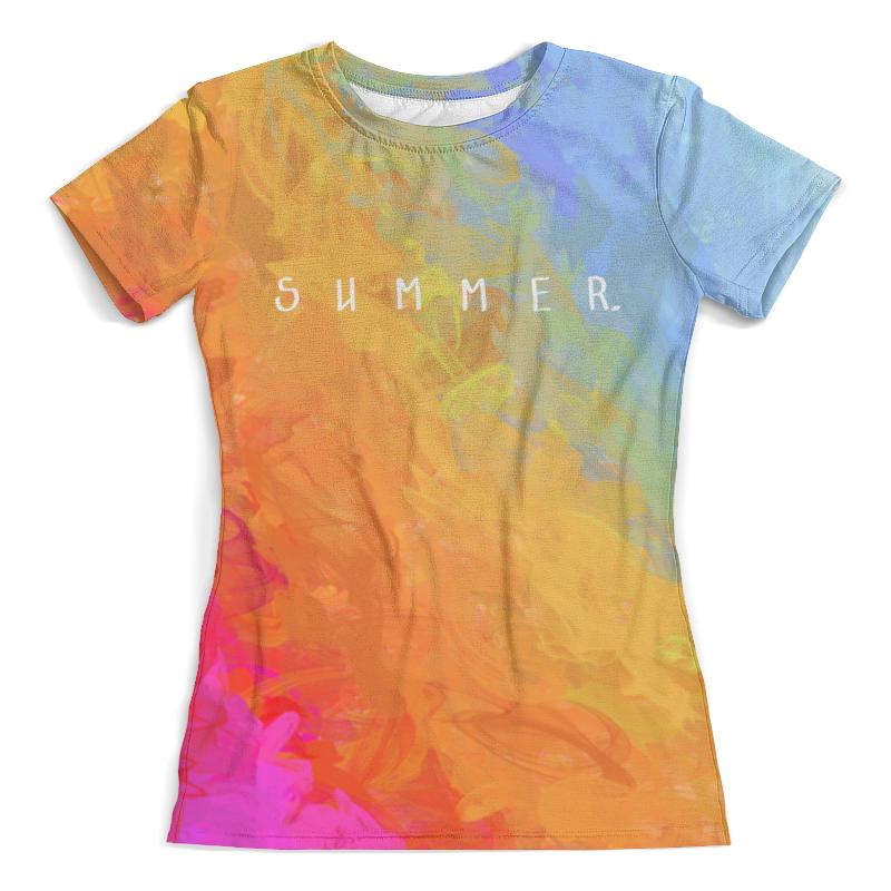 Футболка с полной запечаткой (женская) Printio Яркий радужный дизайн с надписью summer футболка с надписью