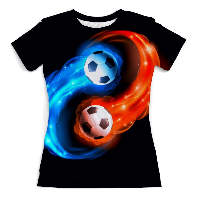 Футболка с полной запечаткой (женская) Printio Футбольные мячи