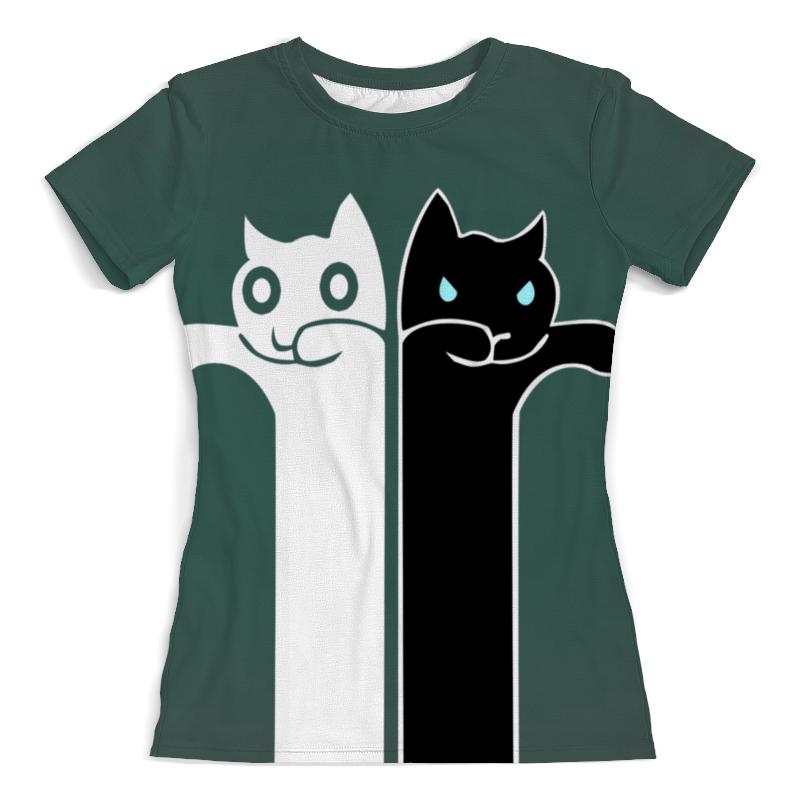 лучшая цена Printio Белый кот , чёрная кошка