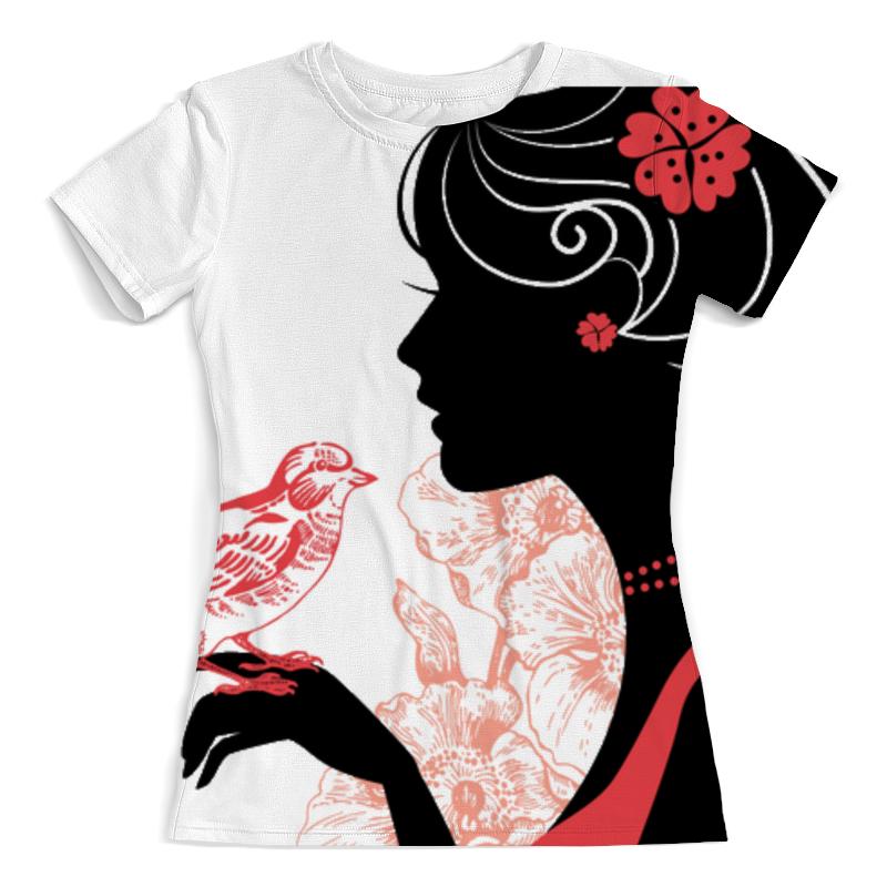 Футболка с полной запечаткой (женская) Printio Девушка с птицей футболка с полной запечаткой женская printio девушка море от milanna
