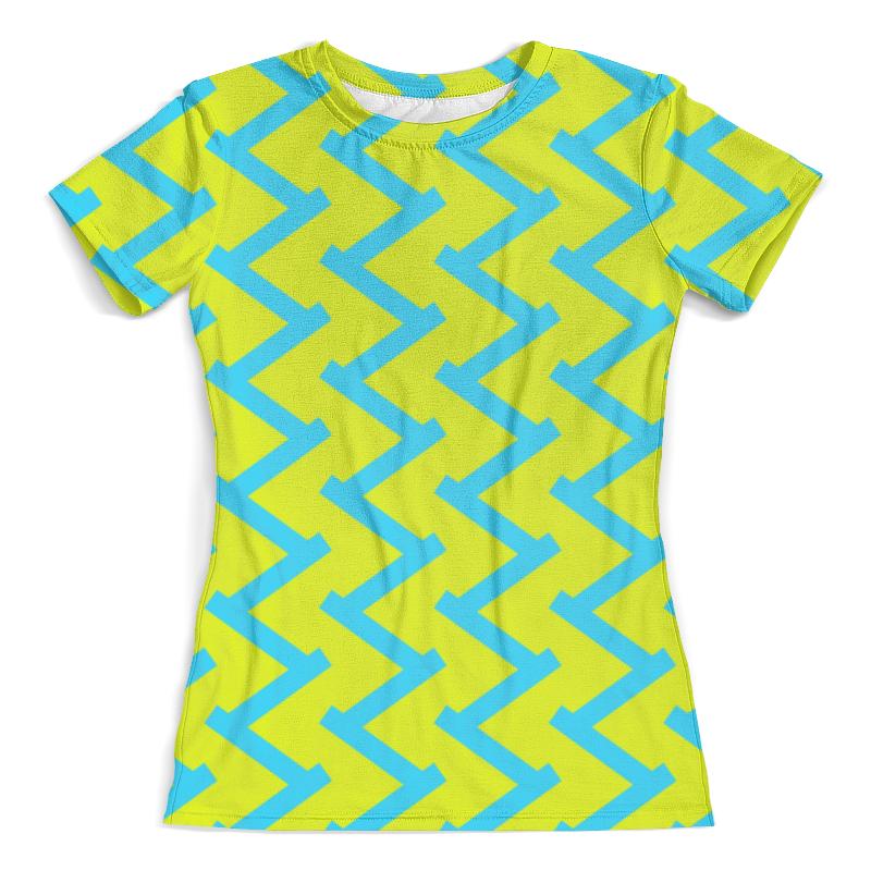 Футболка с полной запечаткой (женская) Printio Желто-голубой узор футболка с полной запечаткой женская printio желто зеленый узор