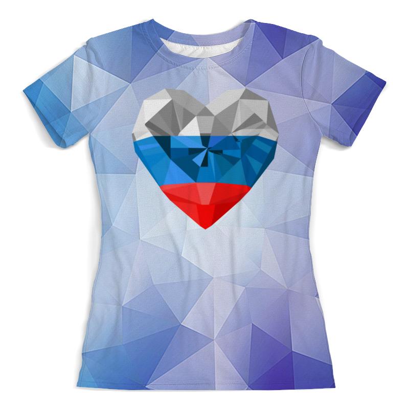 лучшая цена Футболка с полной запечаткой (женская) Printio Флаг россии