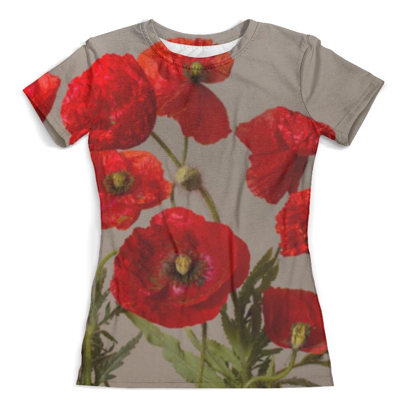 Футболка с полной запечаткой (женская) Printio Цветы маки худи print bar цветы маки