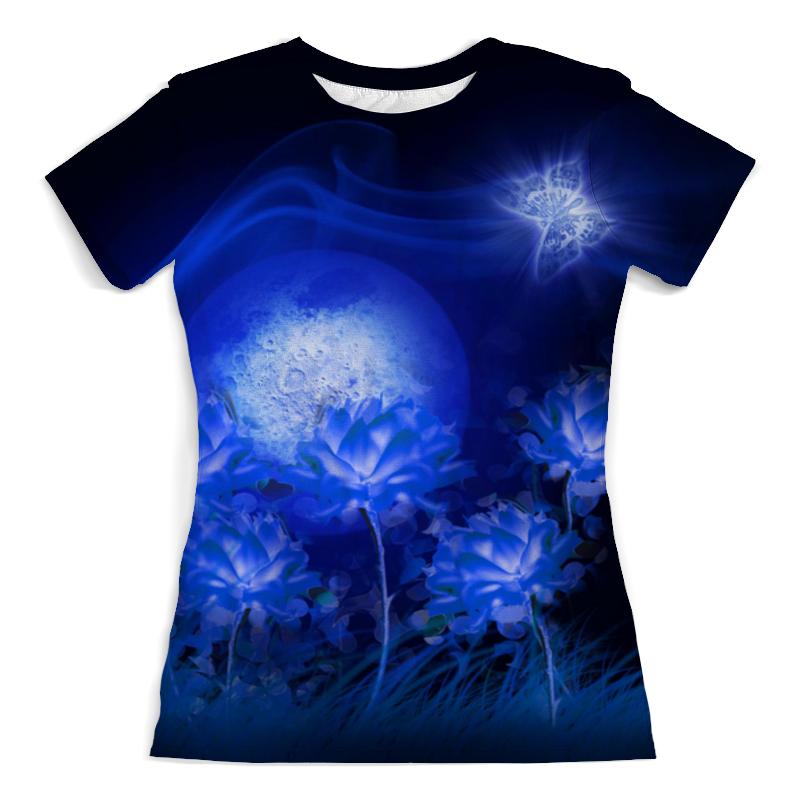 Футболка с полной запечаткой (женская) Printio Синяя ночь полнолуния. футболка с полной запечаткой женская printio синяя абстракция