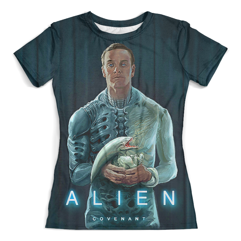 Футболка с полной запечаткой (женская) Printio Alien covenant цена 2017
