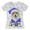 """Футболка с полной запечаткой (женская) """"Собака - Символ Нового Года"""" - новый год, пес, собака, символ года, дед мороз"""