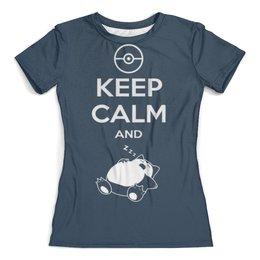 """Футболка с полной запечаткой (женская) """"Keep calm and zzz funny"""" - кот, cat, котик, keep calm, будь спокоен"""
