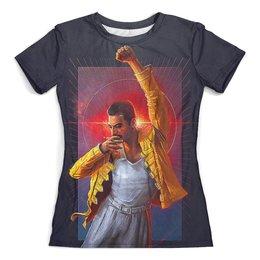 """Футболка с полной запечаткой (женская) """"Freddie Mercury"""" - музыка, фредди меркьюри, квин, богемская рапсодия, меломанам"""