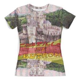 """Футболка с полной запечаткой (женская) """"Замки Испании. Замок Бутрон."""" - испания, крепость, полоски, желтый, замок"""