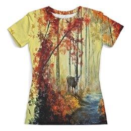 """Футболка с полной запечаткой (женская) """"Осенняя роща"""" - пейзаж, лес, природа, животные, деревья"""
