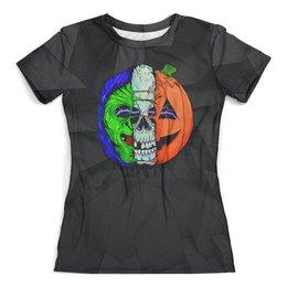 """Футболка с полной запечаткой (женская) """"The Horrors of Halloween"""" - череп, хэллоуин, ужастик, тыква, хоррор"""