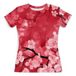 """Футболка с полной запечаткой (женская) """"Дерево"""" - цветы, весна, природа, дерево, цветочки"""