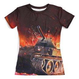 """Футболка с полной запечаткой (женская) """"Танк Т-34"""" - 23 февраля, танк, броня, пушка, т34"""