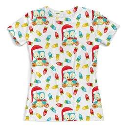 """Футболка с полной запечаткой (женская) """"Пингвин"""" - новый год, игрушки, сова, подарки, пингвин"""