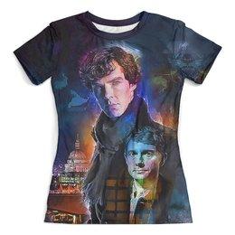 """Футболка с полной запечаткой (женская) """"Sherlock"""" - сериал, шерлок, детектив, доктор ватсон"""