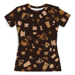 """Футболка с полной запечаткой (женская) """"Кофе."""" - ретро, сладости, кофе, шоколад"""