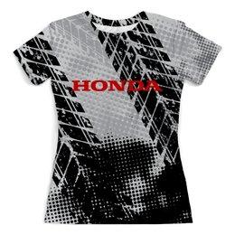 """Футболка с полной запечаткой (женская) """"Honda"""" - авто, автомобили, металл, honda, хонда"""
