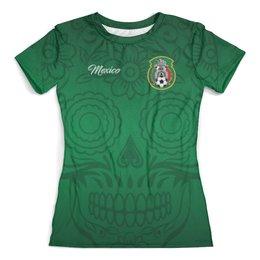 """Футболка с полной запечаткой (женская) """"Сборная Мексики"""" - футбол, мексика, футбол 2018, футбольные команды, сборная мексики"""