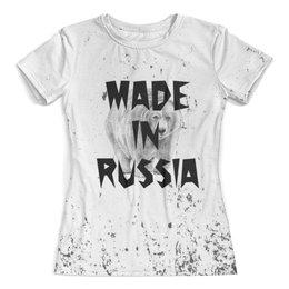 """Футболка с полной запечаткой (женская) """"made in Russia"""" - животные, медведь, мишка, надписи, россия"""