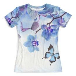 """Футболка с полной запечаткой (женская) """"Цветы и бабочка"""" - бабочка, цветы, девушкам, природа"""