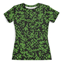 """Футболка с полной запечаткой (женская) """"Милитари"""" - 23 февраля, армия, камуфляж, пиксели, силовые структуры"""