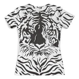 """Футболка с полной запечаткой (женская) """"Взгляд Тигра"""" - рисунок, взгляд, графика, тигр, чёрное и белое"""