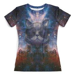 """Футболка с полной запечаткой (женская) """"Кот в космосе"""" - кот, космос, котик, кот в очках, кот в космосе"""