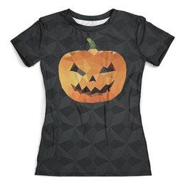 """Футболка с полной запечаткой (женская) """"HALLOWEEN"""" - хэллоуин, абстракция, тыква, ужасы, арт дизайн"""