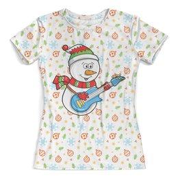 """Футболка с полной запечаткой (женская) """"Снеговик с гитарой (новый год)"""" - новый год, шары, снеговик, снежинка, ёлки"""