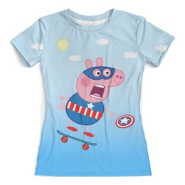 """Футболка с полной запечаткой (женская) """"Cap Pep"""" - пародия, символ нового года, супергерой, свинка пеппа, супер свин"""