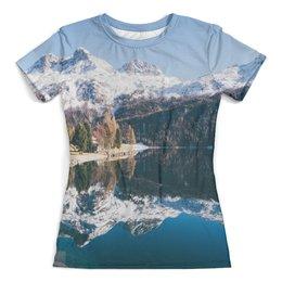"""Футболка с полной запечаткой (женская) """"Горная река"""" - горы, пейзаж, природа, скалы"""