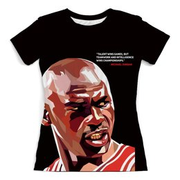 "Футболка с полной запечаткой (женская) ""Майкл Джордан NBA"" - баскетбол, nba, нба, michael jordan, коби брайант"