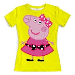 """Футболка с полной запечаткой (женская) """"Пеппа, Peppa"""" - свинка, pig, peppa, пеппа, peppa pig"""
