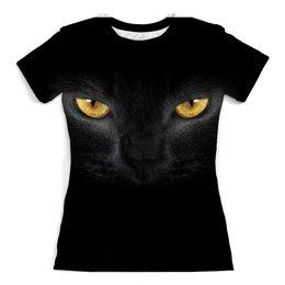 """Футболка с полной запечаткой (женская) """"Кот черный """" - кот, кошка, black cat, черный кот, браво"""