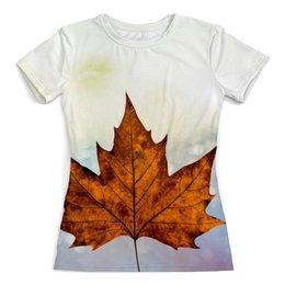 """Футболка с полной запечаткой (женская) """"Осень"""" - осень, золотая осень, жёлтые листья, краски осени, золотая пора"""