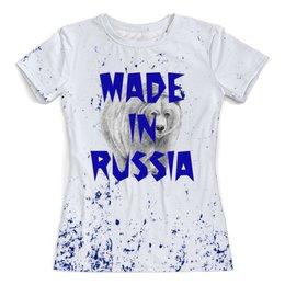 """Футболка с полной запечаткой (женская) """"Мишка"""" - животные, медведь, мишка, надписи, россия"""
