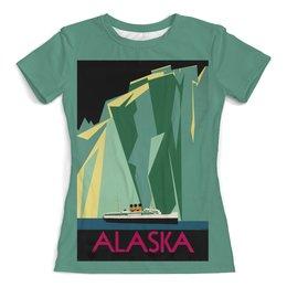 """Футболка с полной запечаткой (женская) """"Аляска"""" - ретро, америка, винтаж, постер"""